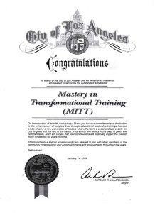 Acknowledgement from the Mayor of the City of Los Angeles